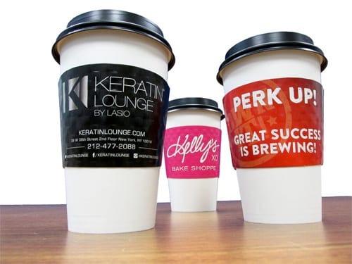 Custom cup sleeves printed in 1, 2 or full color