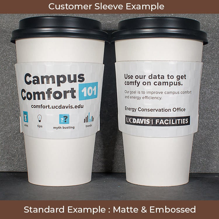 2 color white custom coffee sleeve